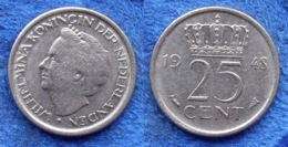 NETHERLANDS - 25 Cents 1948 KM# 178 WiIhemina (1890-1948) - Edelweiss Coins - [ 3] 1815-… : Regno Dei Paesi Bassi