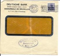 Lettre Deutsches Reich      BRUXELLES  Deutsche Bank ( 3 Scans ) - Guerre 14-18