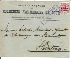Lettre Deutsches Reich      DOUR  Corderies Harmegnies De Dour - WW I