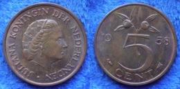 NETHERLANDS - 5 Cents 1958 KM# 181 Juliana (1948-1980) Bronze - Edelweiss Coins - Sin Clasificación