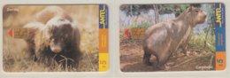URUGUAY 1999 ZORILLO MEPHITIDAE CARPINCHO CAPYBARA 2 PHONE CARDS - Selva