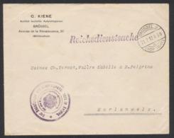 """Guerre 14-18 - Pli """"Reichsdienstasche"""" Expédié De Brussel 2 (1917) Vers Morlanwelz + Grand Cachet Violet. TB - WW I"""
