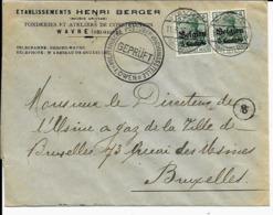 Lettre Deutsches Reich   WAVRE  Fonderie Henri Berger - WW I