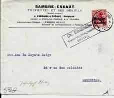 Lettre Deutsches Reich   FONTAINE L ' ÉVÈQUE   Tréfilerie Sambre-Escaut - WW I