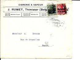 Lettre Deutsches Reich   THIMISTER   Cidrerie J. Ruwet  ( 2 Scans ) - WW I