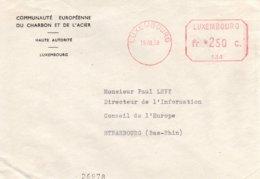 O66 CECA - EGSK - EMA 134 (D'Urso 2 MA 5) De La Haute Autorité Du 19.8.58 De Luxembourg Vers Le Conseil De L'Europe  TTB - European Ideas