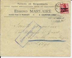 Lettre Deutsches Reich   CINEY  Tuilerie Et Briqueterie Edmond Marlaire à Champion-Ciney - Weltkrieg 1914-18