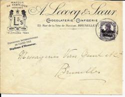 Lettre Deutsches Reich  BRUXELLES  Chocolaterie A.Lecocq & Sœur - Guerra 14 – 18