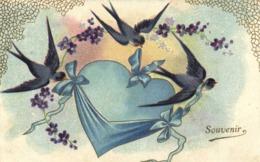 Illustrateur Hirondelles Portant Un Coeur Rubans Fleurs Souvenir RV - Fantasia
