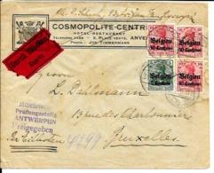 Lettre Deutsches Reich  Exprès   ANVERS   Hôtel Cosmopolite Centre - WW I