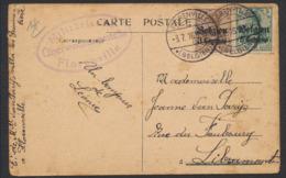 """Guerre 14-18 - OC1 Et 2 Sur CP Obl à Pont """"Florenville"""" (1916) + Censure Vers Libramont. - WW I"""