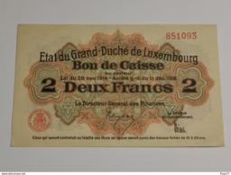 Luxembourg, Deux  Franc , 1914-1918 . Excellente état, Unc. - Lussemburgo