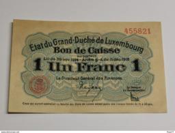 Luxembourg, Un Franc , 1914-1918 . Excellente état, Unc. - Lussemburgo