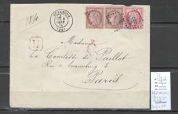 France - Lettre Recommandée De Besançon - Doubs - Yvert 57 + 58 X 2 - 01/1876 - Marcophilie (Lettres)
