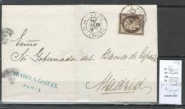 France - Lettre Pour Madrid - Espagne - 1876 - Yvert 56 - Marcophilie (Lettres)