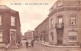 BB035 Manage Rue De La Station Vers La Gare Ca 1920 - Manage