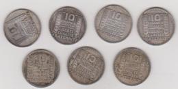 LOT DE 7 PIECES 10 FRANCS ARGENT TURIN . 1929 . 1930. 1931. 1932. 1933. 1934. 1938. - Frankreich