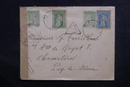 GRECE - Enveloppe Pour La France En 1917 Avec Contrôle Postal, Affranchissement Plaisant - L 48047 - Grecia