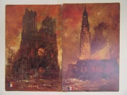 Guerre 14-18 - 2 CPA Illustrateurs - Arras Et Reims - Cathédrales - Editions CPI - Cartes Couleur Non-circulées - War 1914-18