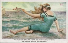 Humor Inglese 2 - Donna In Costume Balneare - Liberty - Decò - Rif. 273 Ill. - Ilustradores & Fotógrafos