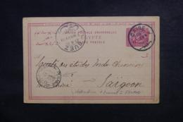 EGYPTE - Entier Postal Commercial ( Repiquage Au Dos )  Du Caire Pour Saïgon En 1899 Via Suez Et Singapour -  L 48053 - Égypte