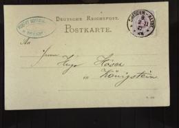 DR: Postkarte Mit 5 Pf Violett Ziffernzeichnung EF (mit Pfennige) Aus Dresden-Altst. 9 V. 2.11.(18)77 An H.Hösch Knr: 32 - Briefe U. Dokumente