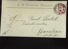 """DR: Brief Mit 10 Pf EF Aus Dresden-Altst. 9 Vom 8.9.1881 Nach Bautzen An Einen """"Zahnkünstler""""  Knr: 41 - Briefe U. Dokumente"""