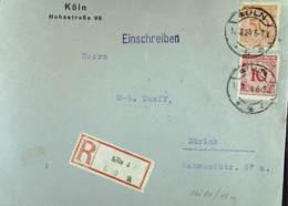 DR: Ausl-R-Brief Mit 50,10 Pf Korbdeckel Nach Der Schweiz OSt. CÖLN 4 (600) 11.3.24; Abs. Und R-Zettel Mit K Knr:342,340 - Briefe U. Dokumente