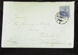 DR: Ausl-Brief Mit 20 Pf Reichspost Germania Aus Mannheim Vom 28.9.00 Nach Der Schweiz; Bf Unsauber Geöffnet  Knr: 57 - Briefe U. Dokumente
