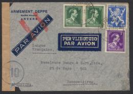 Guerre 40-45 - Affranch. Mixte Sur Lettre Par Avion De Antwerpen (1945) Vers Buenos Aires + Bandelette De Censure. - WW II