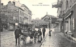 B059 Liege Rue Et Gare De Guillemins Hondenkar Straatleven Ca 1920 - Lüttich
