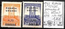 D - [842082]B/TB//*/Mh-c:11e-Ruanda-Urundi 1942 - N° 124/25, Roi Albert, Monument - 1924-44: Neufs