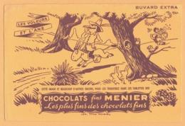 BUVARD Illustré - BLOTTING PAPER - CHOCOLATS Fins MENIER - Les Voleurs Et L'Ane - Imp. TYPO NOISIEL - Chocolat