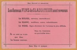 BUVARD Illustré - BLOTTING PAPER - Les Fameux Vins Du GLADIATEUR - Rouge Blanc Rosé - Non Classificati