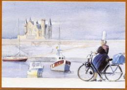 Bigoudène Avec Vélosolex à Quiberon - Aquarelle Yves Agaisse (port, Solex) - Folklore