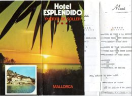 Hotel Esplendido  Puerto Soller  Folder + Menu's  Toeristiek  Touristic Turistisch  1985 Mallorca - Dépliants Touristiques