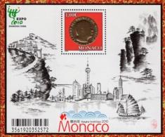 Monaco - 2010 - World EXPO 2010 In Shanghai - Architecture - Mint Souvenir Sheet With Golden Hot Foil Intaglio Printing - Mónaco