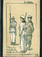 CPA - Illustration P.B. - LE PELOTON - Placez Vous Devant Le Centre De La Section Pour Commander - Guerre