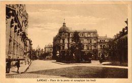 PC JUDAICA SYNAGOGUE Landau - Place De La Poste Et Synagogue (au Fond) (a1262) - Jodendom