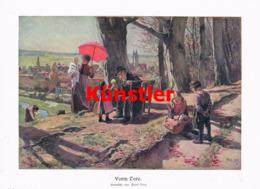 1545 Paul Hey Vorm Tore Kinder Landschaft Kunstblatt 1906 !! - Estampes