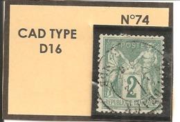Y&T N°74  CLASSIQUE - 1876-1898 Sage (Type II)