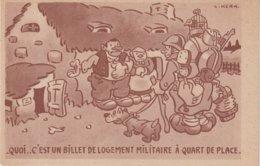 """FRANCE : CP EN FM . """" QUOI ...C'EST UN BILLET DE LOGEMENT MILITAIRE A QUART DE PLACE  """" . EDITION ABC . - Postmark Collection (Covers)"""