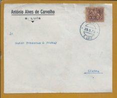 São Luiz. S. Luiz. Odemira. Carta Com Obliteração De 1970 De S.Luiz Para Lisboa. - 1910 - ... Repubblica