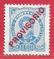 Portugal N°85 50r Bleu & Surchage Carmin (PROVISORIO) 1892-93 (*) - Unused Stamps
