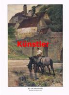 1557 Paul Hey Alte Steinbrücke Reiter Pferde Kunstblatt 1911 !! - Prints