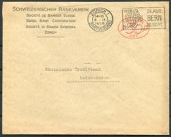 1928 Switzerland Swiss Bank Corporation Zurich Stationery Cover - Rheinische Creditbank, Baden-Baden. Bern SAFFA Slogan - Switzerland