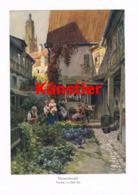 1563 Paul Hey Kleinstadtwinkel Leute Kunstblatt 1913 !! - Prints