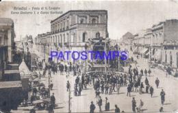 124467 ITALY BRINDISI APULIA FEAST OF S. TEODORO CORSO UMBERTO I AND & STREET GARIBALDI SPOTTED  POSTAL POSTCARD - Italia