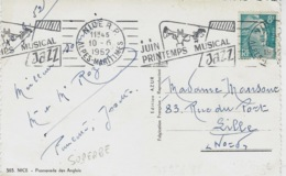 1952- C P A De Nice  Affr. 8 F Gandon -oblit. Flamme R B V  ILLUSTREE JUIN/PRINTEMPS MUSICAL / JAZZ - Storia Postale