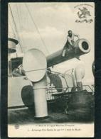 """CPA - Astiquage D'un Canon De 340 M/m à Bord Du """"BAUDIN"""", Animé - Guerre"""
